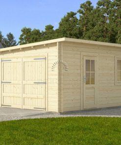 Træ Garage Modern fladt tag 4 m x 6 m, 44 mm :