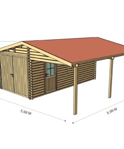 Træ garage med carport 6 m x 6 m, 44 mm :