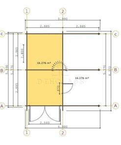 Træ garage med carport 6 m x 6 m, 44 mm _Floor plan