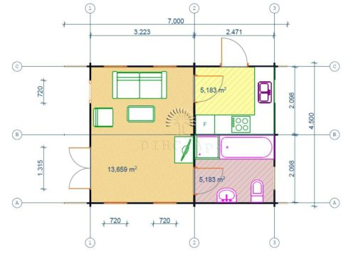 Feriehus Nottingham 4.5 m x 6 m, 44 mm - floor plan