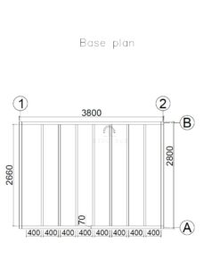 Haveskur Oxford 4 m x 3 m, 44 mm :_base plan