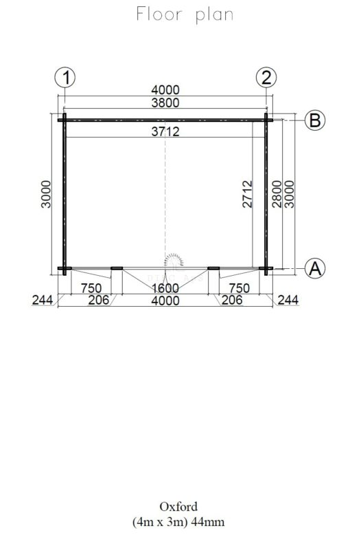 Haveskur Oxford 4 m x 3 m, 44 mm :__floor plan