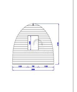 Haveskur Pod 3 m x 3 m, 44 mm _back wall