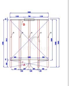 Haveskur Pod 3 m x 3 m, 44 mm_floor plan