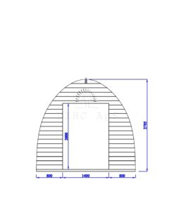 Haveskur Pod 3 m x 3 m, 44 mm__front wall