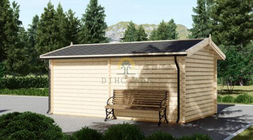 Træ garage 16,6m² (3,20 x 5,20), 44mm