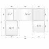 Glamping cube 51 m² (U shape) - Plan