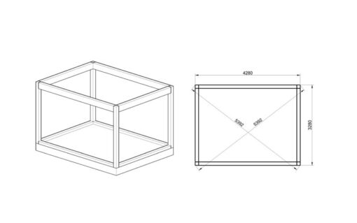 Isoleret cube - hotel (3 m x 4 m) - Fundament