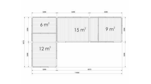 Glamping cube 42 m² (L shape) - Plan