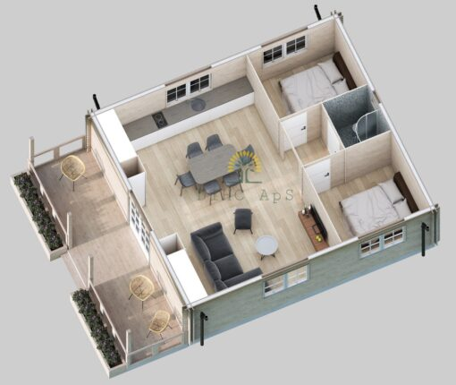 Bjælkehus Petunia A 690 cm x 790 cm (54.5 m²)
