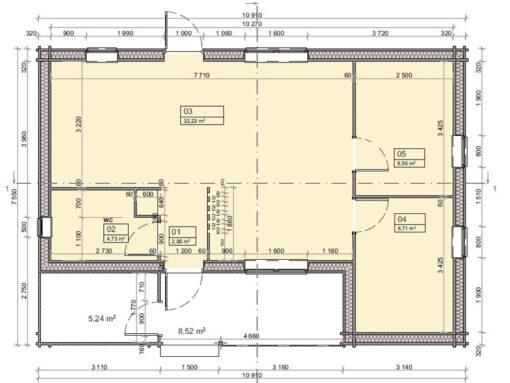 Bjælkehus Anna A 1030 cm x 760 cm (78.3 m²)