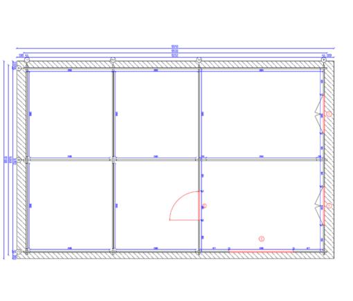 Dobbelt carport - Tivoli med skur (5,95 m x 7.5m), 44mm - Plan