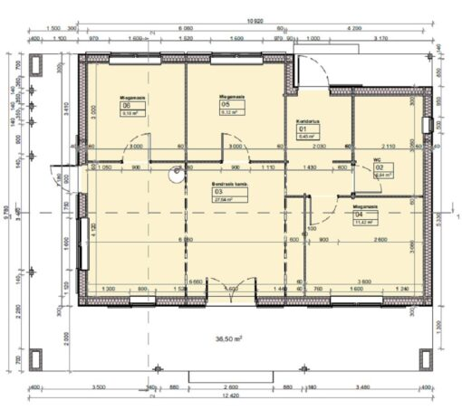 Bjælkehus Tulipa A (72 m²) - Plan