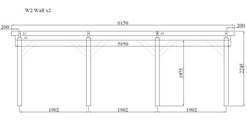 Træ carport Singuli 18 m²