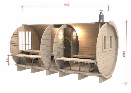 Sauna tønde 4.8 m/Ø 2.27 ( med sideindgang )